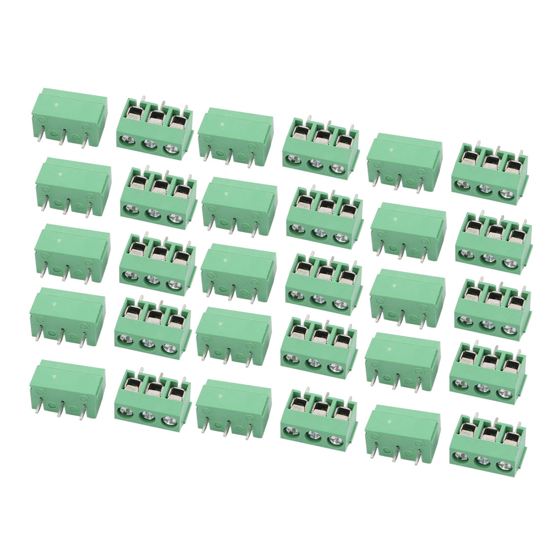 30Pcs AC 300V 10A 5.0mm Pitch 3P Terminal Block PCB Mount Wire Connection