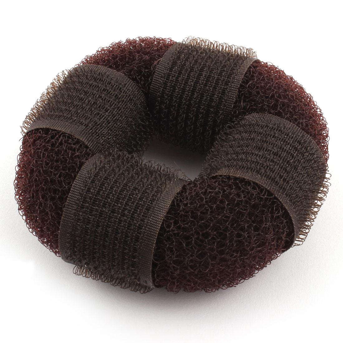 Lady Nylon Net Donut Shape Hair Ring Bun Maker Coffee Color 3.5 Inch Diameter