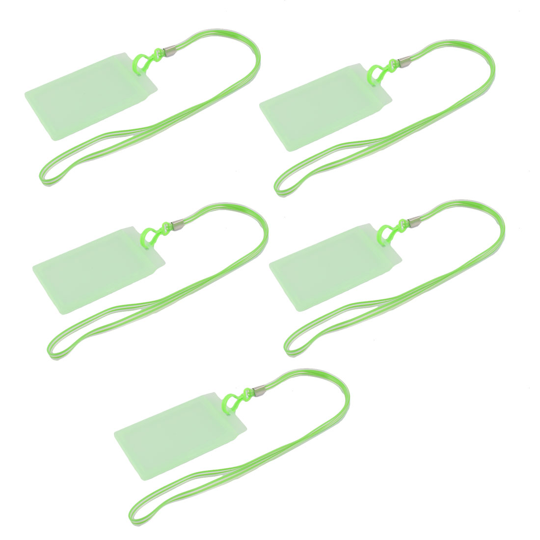 Plastic Vertical Style Lanyard Neck Strap Business Work ID Card Holder Green 5 Pcs