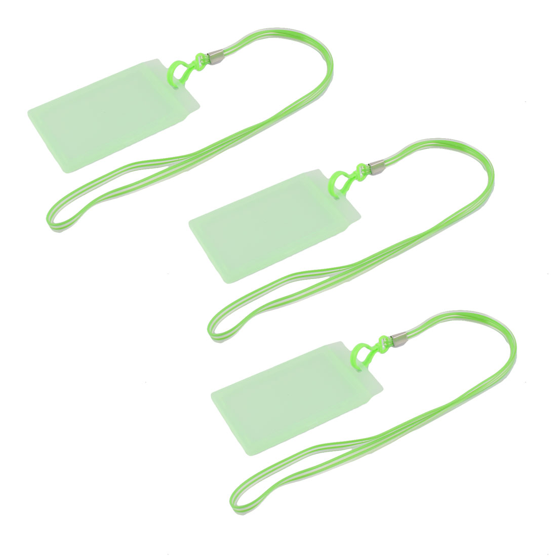 Plastic Vertical Style Lanyard Neck Strap Business Work ID Card Holder Green 3 Pcs