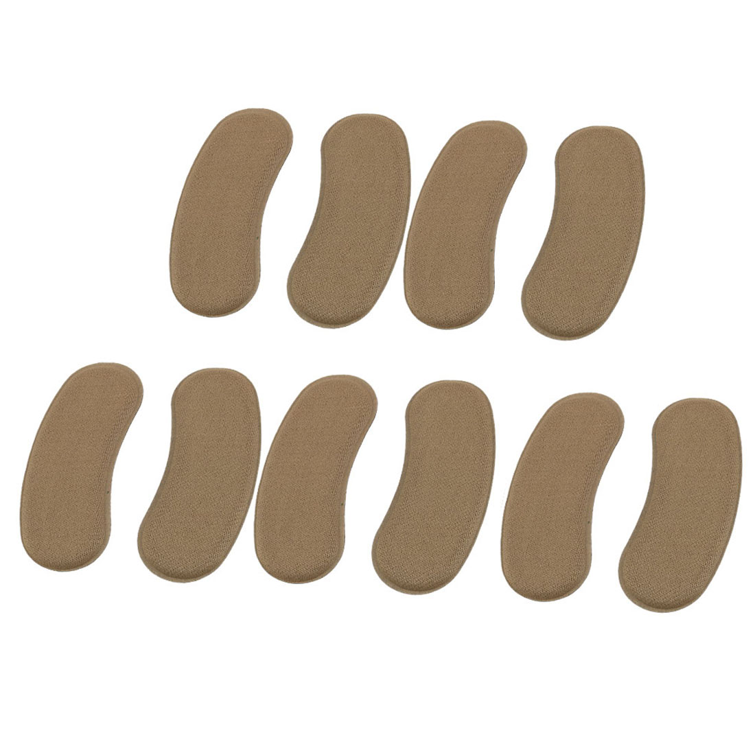 Lady Fabric Protective Self Adhesive Shoes Cushions Insole Back Pads Brown 5 Pairs