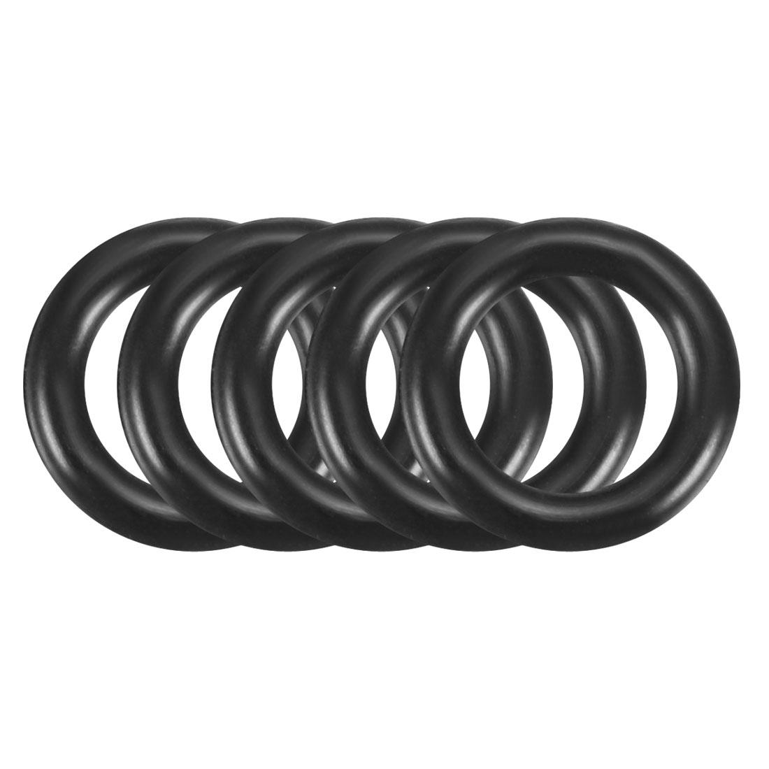 Black 200 Pcs 5mm Inner Diameter Rubber Seal Rings Grommets