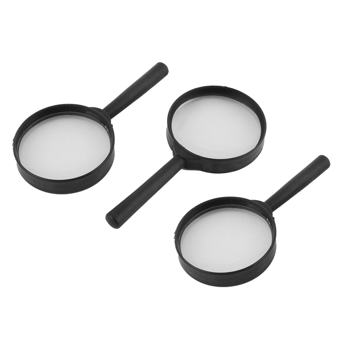 Plastic Frame Magnifying Glass Jewelry Loupe Magnifier Black Clear 5X 3 Pcs