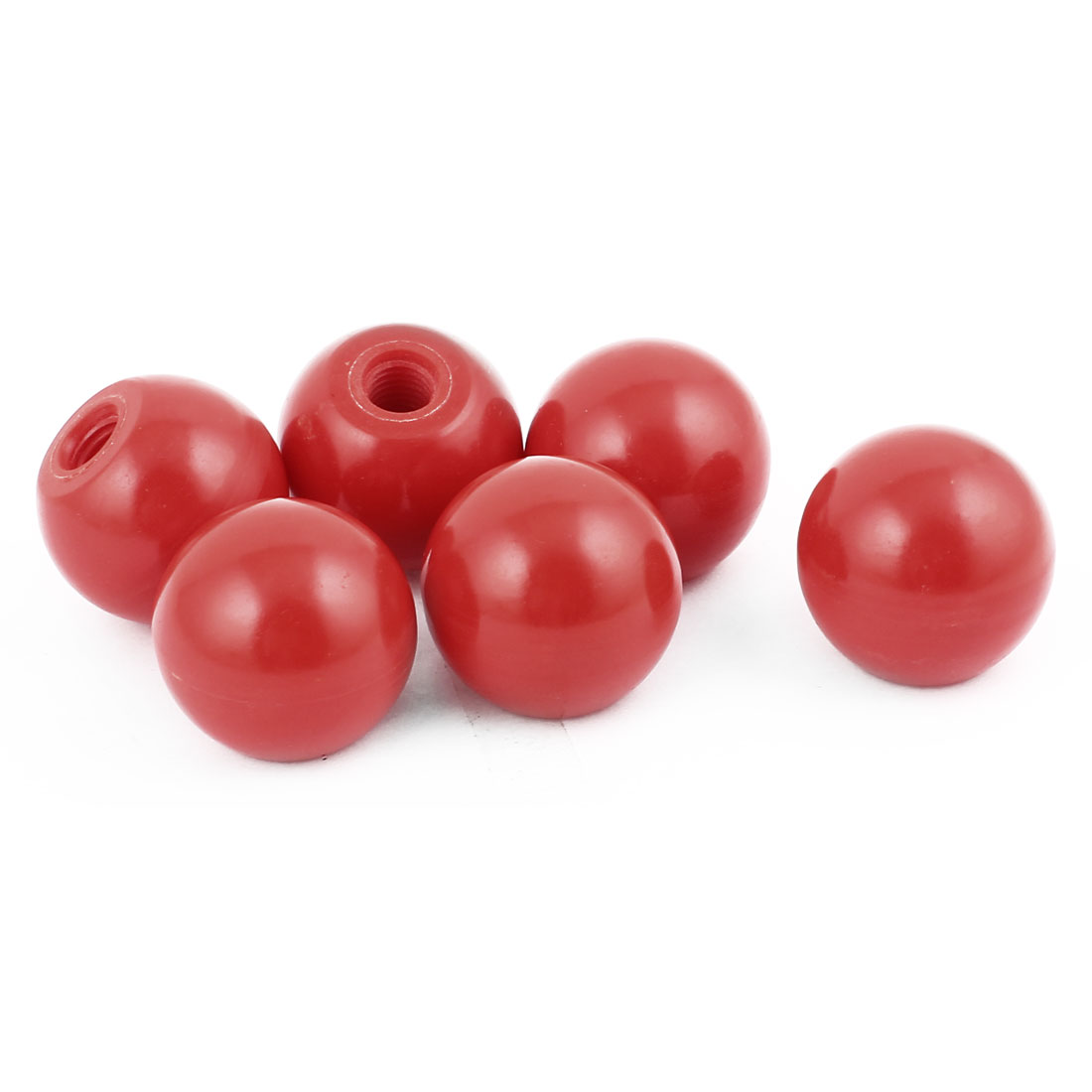 6 Pcs 35mm Dia Plastic Ball M10 Threaded Blind Hole Handling Knob Red