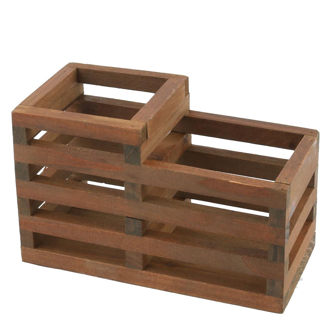 Wooden Hollow Out Design Desktop 2 Compartments Pen Holder Storage Basket