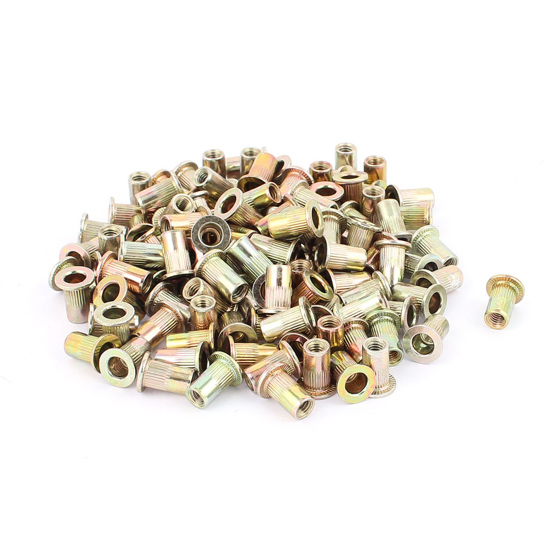 120pcs M4 Carbon Steel Countersunk Head Knurled Blind Rivet Nut Nutserts