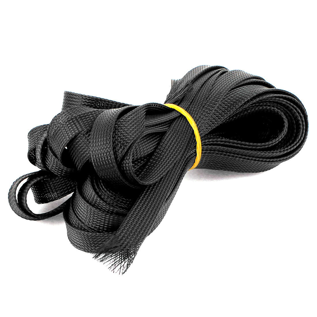 16.5M Long 16mm Width Black Nylon Expandable Braided Sleeving Cable Cover Wire Wrap