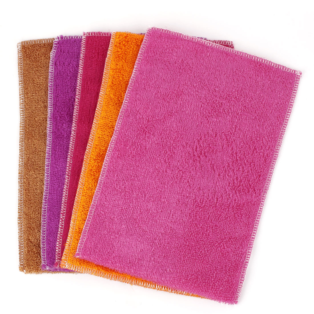 Household Kitchen Fiber Dish Washing Towels Assorted Color 30cm x 20cm 5 Pcs