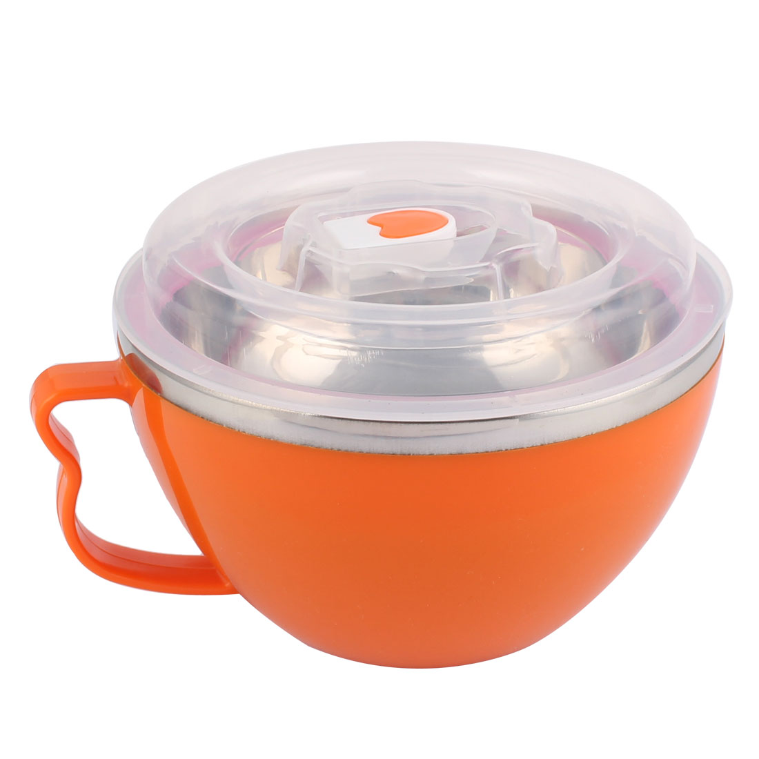 Household Plastic Handle Stainless Steel Noodle Rice Lunch Box Bowl Orange w Cover