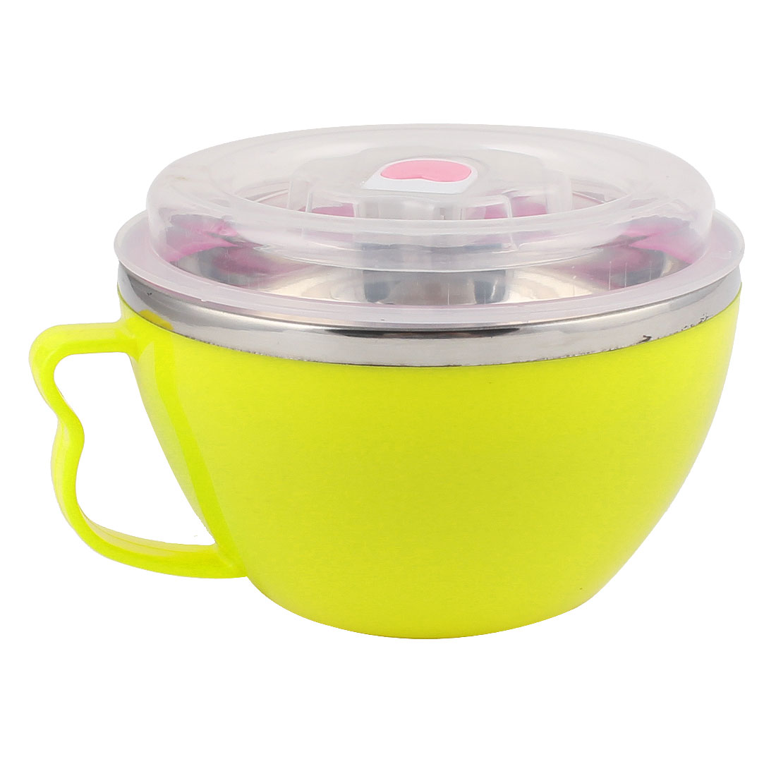 Household Plastic Handle Stainless Steel Noodle Rice Lunch Box Bowl Yellow w Cover