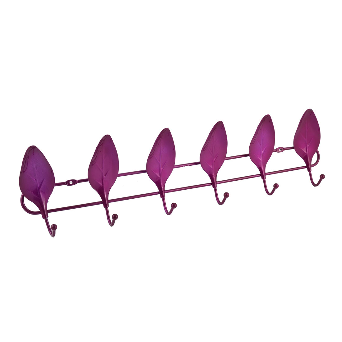 Household Metal Leaf Shaped Wall Mounted Towel Clothes 6 Hooks Hanger Rack Fuchsia
