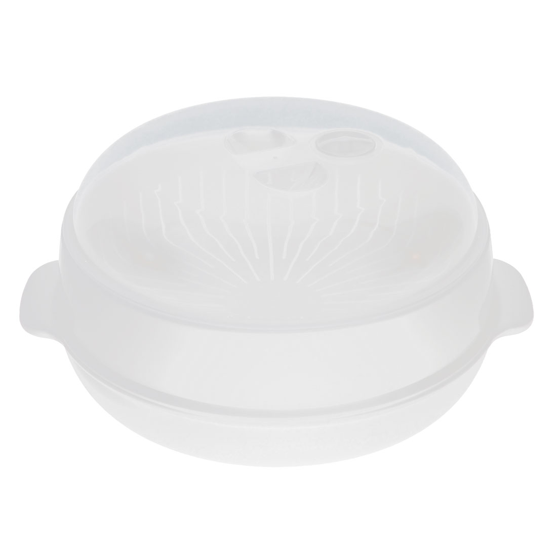 Plastic Round Home Kitchen Food Cooking Microwave Steamer White 7 Inch Dia