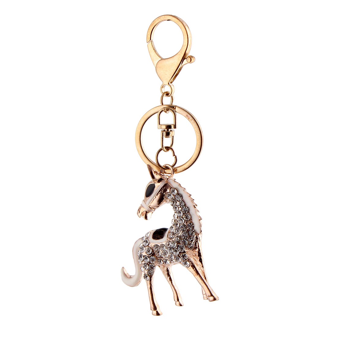 Metal Ring Faux Rhinestone Horse Shape Bag Decor Hanging Key Chain Gold Tone