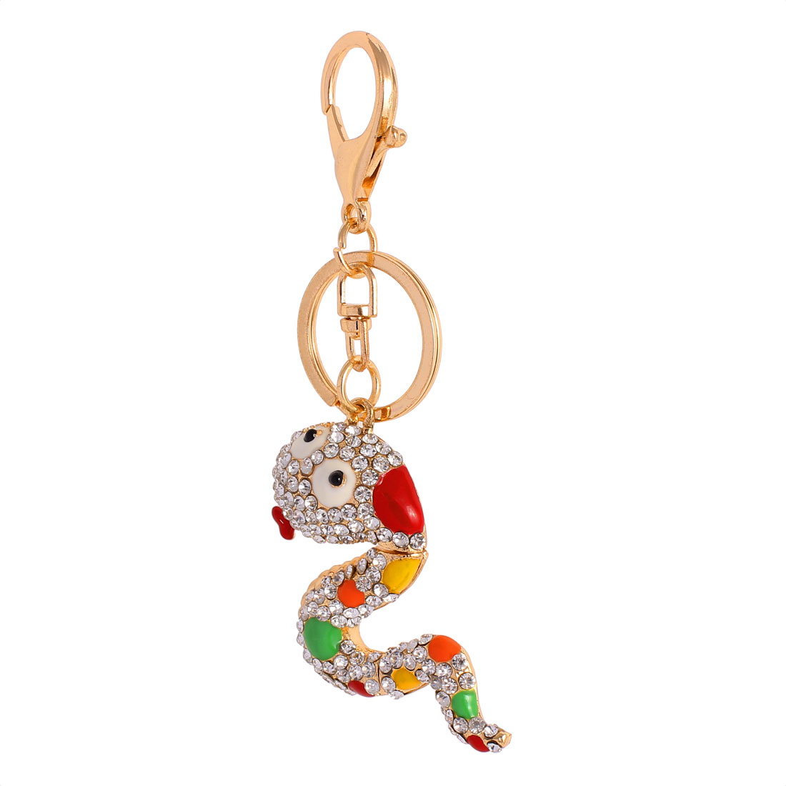 Metal Ring Faux Rhinestone Snake Shape Bag Decor Hanging Key Chain Colorful