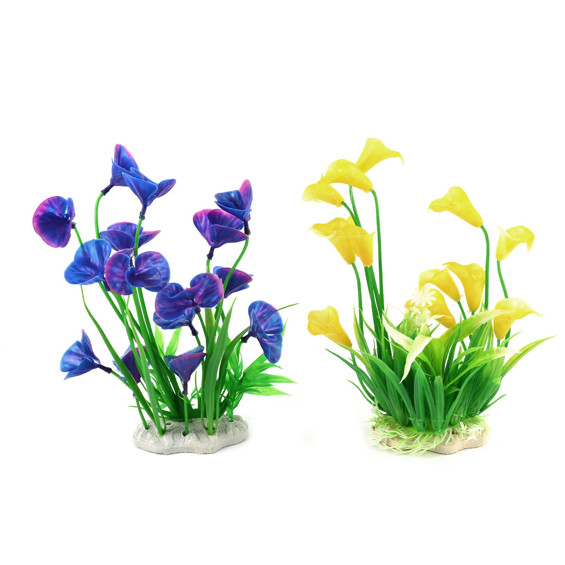 Fish Tank Ornament Plastic Aquarium Plant Decor Artificial Water Grass 2 in 1