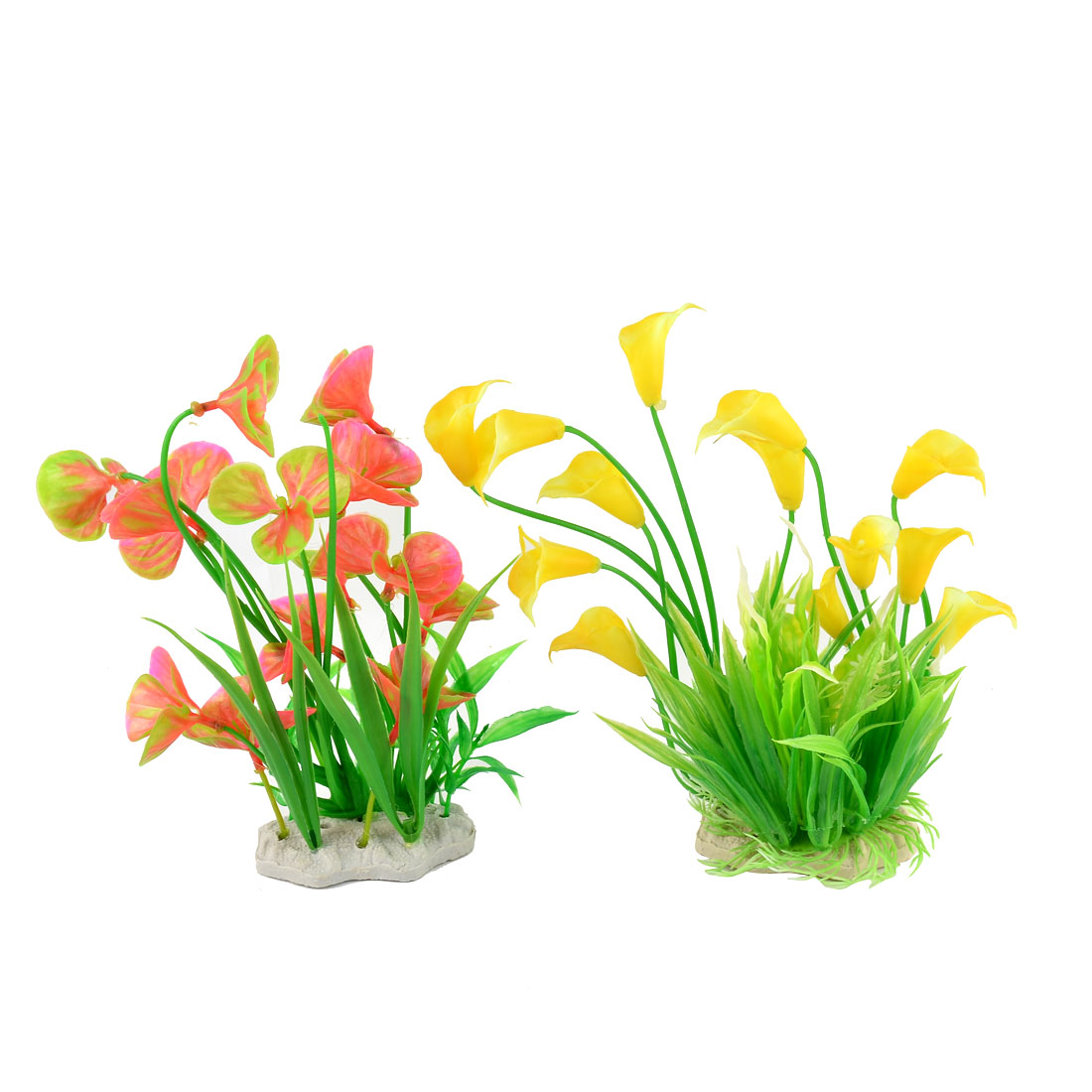 Emulation Aquatic Aquarium Plant Fish Tank Plastic Grass Flower Decor 2 in 1