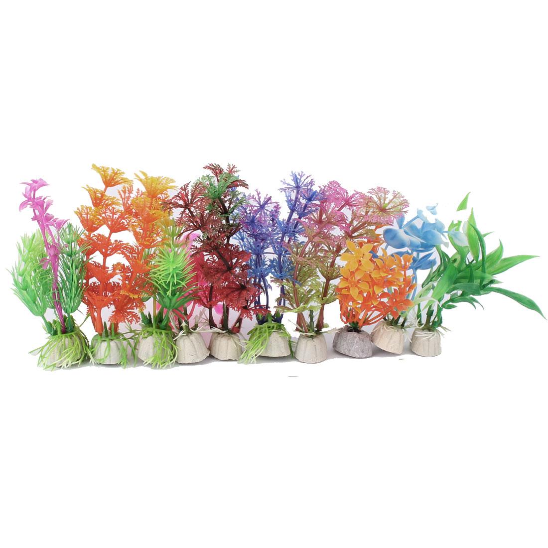 Aquarium Fish Tank Plastic Artificial Water Plant Grass Decor Ornament Assorted Color 10 Pcs