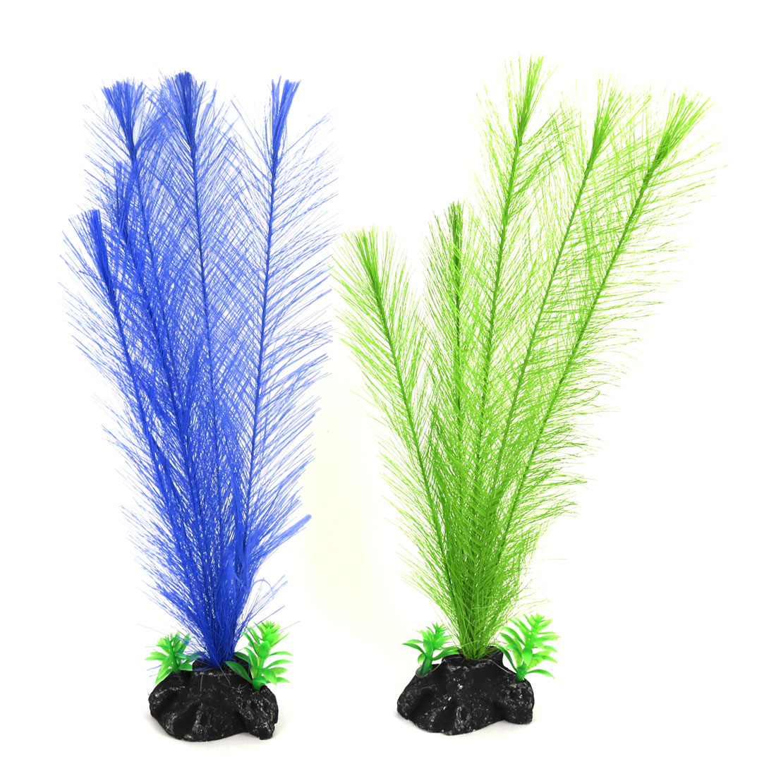 Underwater Upright Swing Fibre Leaves Stone Base Fish Tank Aquarium Plant 2pcs