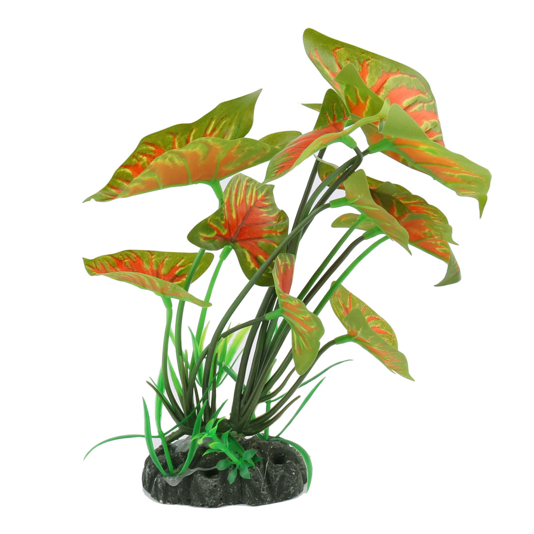 Artificial Decor Vivid Taro Green and Orange Leaves Fish Tank Aquarium Plant