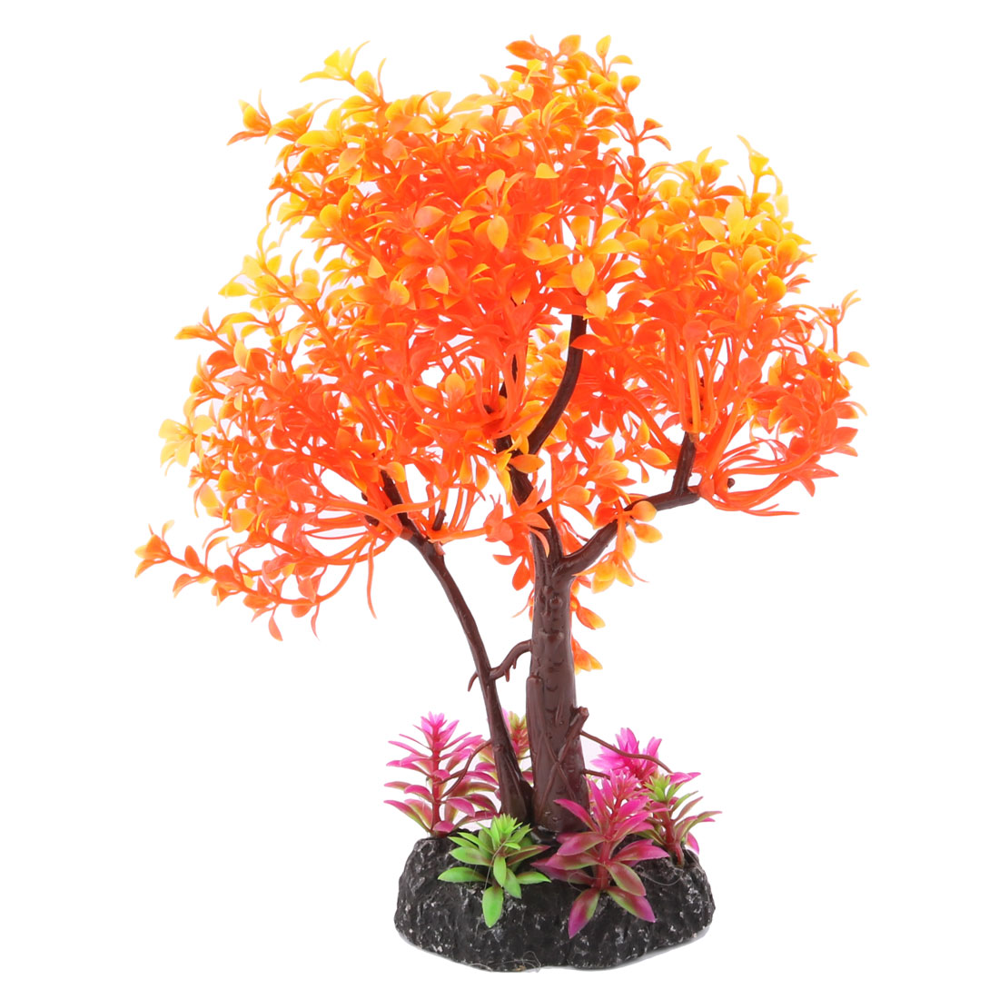 Plastic Artificial Emulational Lush Tree Shape Fish Tank Aquarium Plant Orange