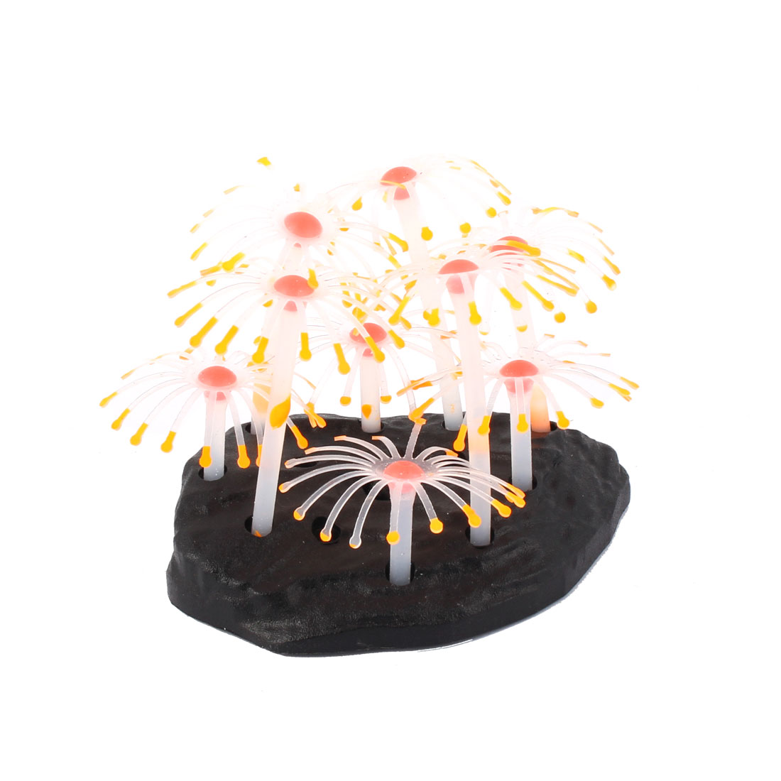 Aquarium Plastic Base Silicone Artificial Coral Plant Ornament Colorful