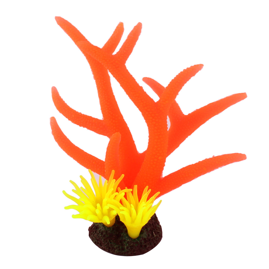 Aquarium Fish Tank Manmade Landscape Emulation Coral Plant Decor Orange Yellow