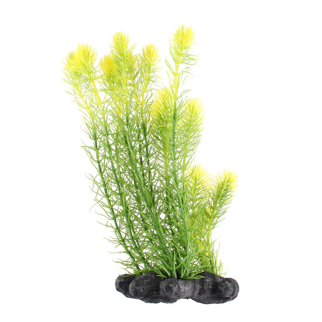 Aquarium Fish Tank Plastic Artificial Plant Grass Green Yellow 32cm Height