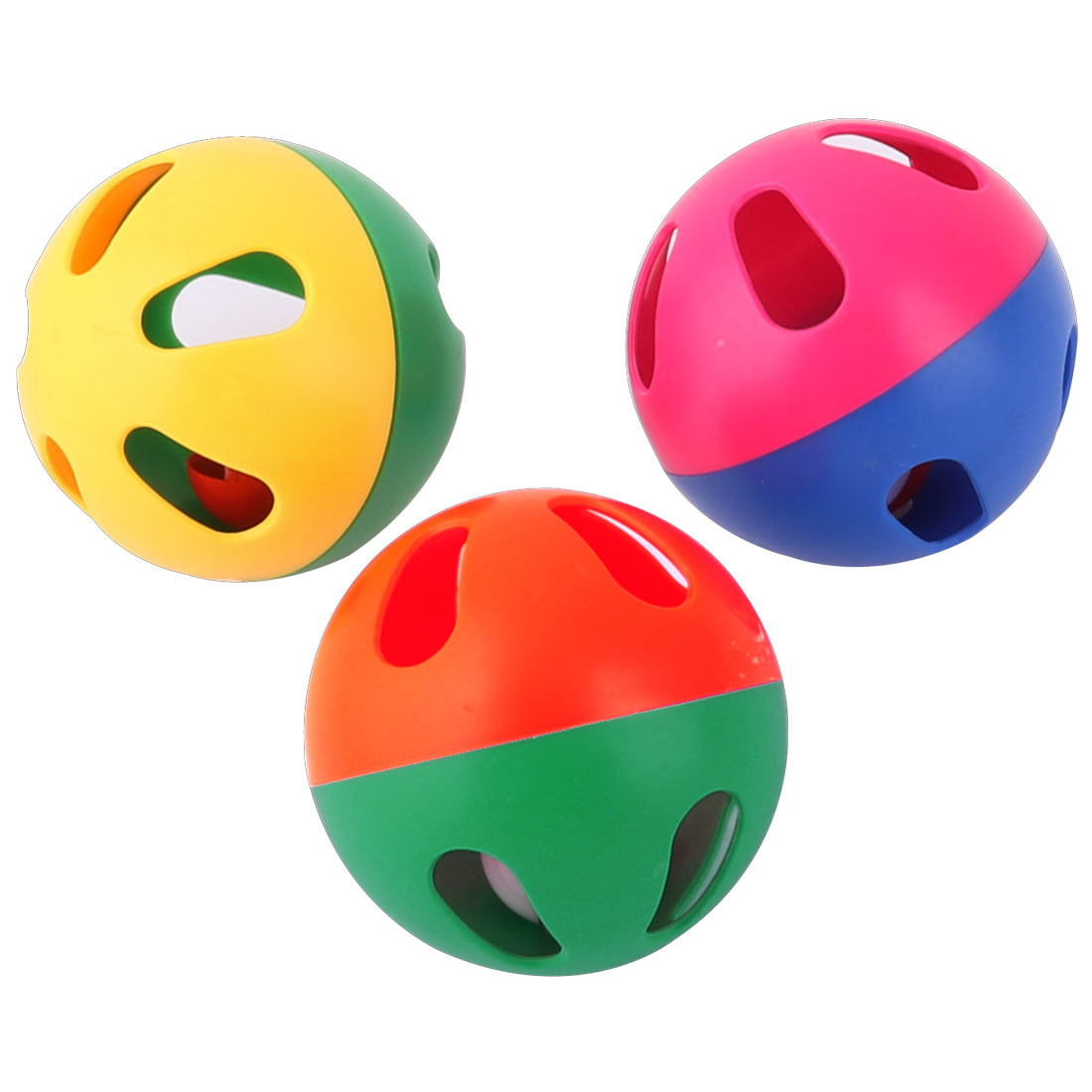 6cm Dia. Cat Dog Animals Plastic Pet Playing Bell Ball Toy Assorted Color 3pcs