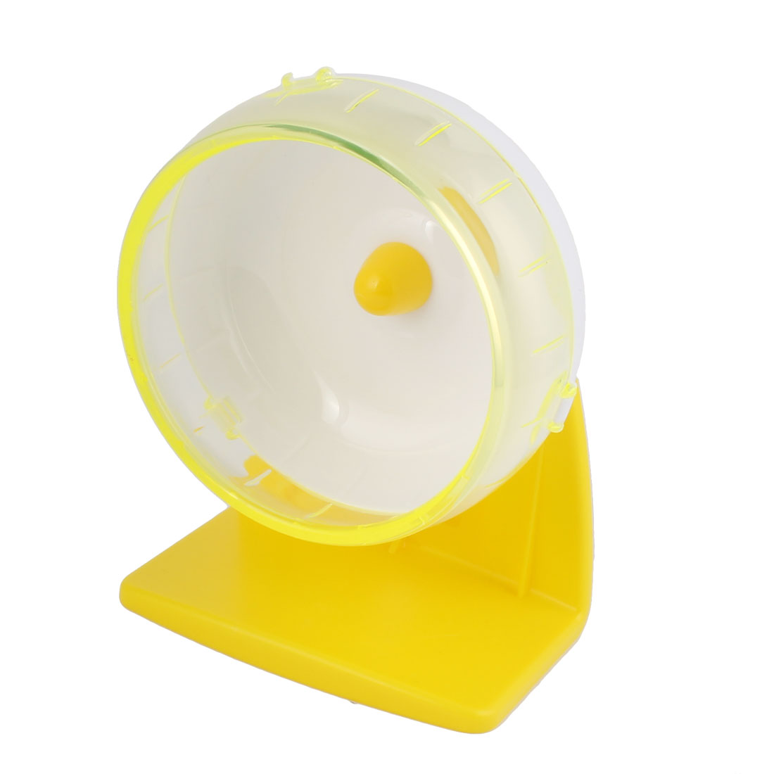 Pet Hamster Plastic Play Stand Wheel Toy Yellow 11cm Diameter w Suction Cup