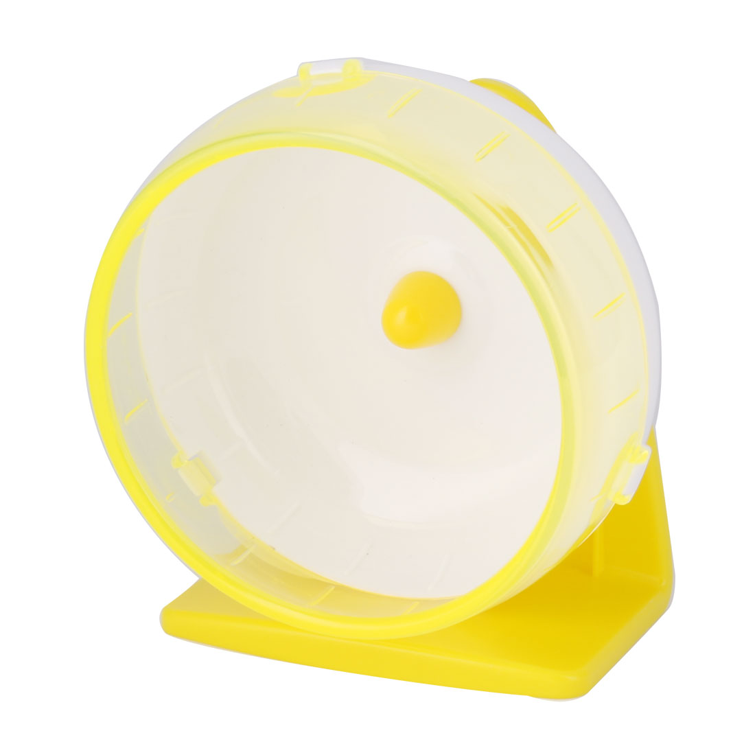 Pet Hamster Gerbil Plastic Play Stand Wheel Toy Holder Yellow w Suction Cup