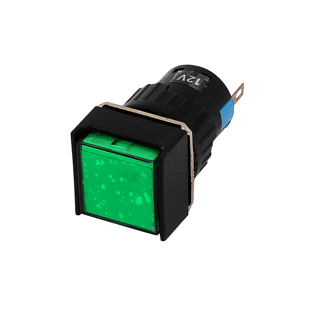 DC 12V 2 Terminals Square Plastic Cap Green LED Signal Lamp Panel Indicator Light