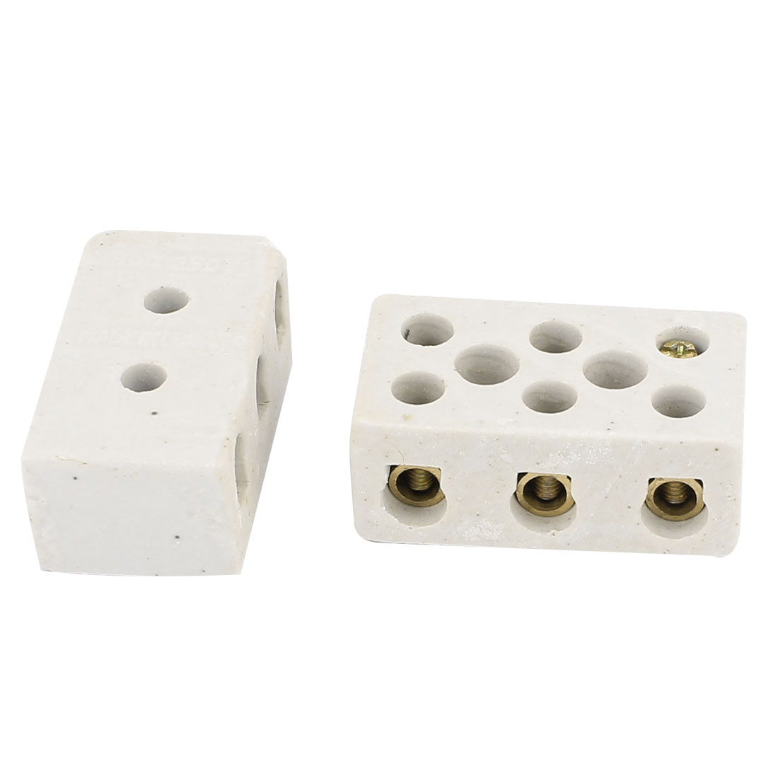 2Pcs White 30A 3W8H 3 Way 8 Hole Ceramic Connector Porcelain Terminal Block