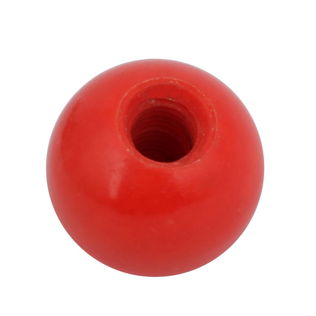 32mm Dia M10 Female Threaded Plastic Round Handle Ball Knob Red