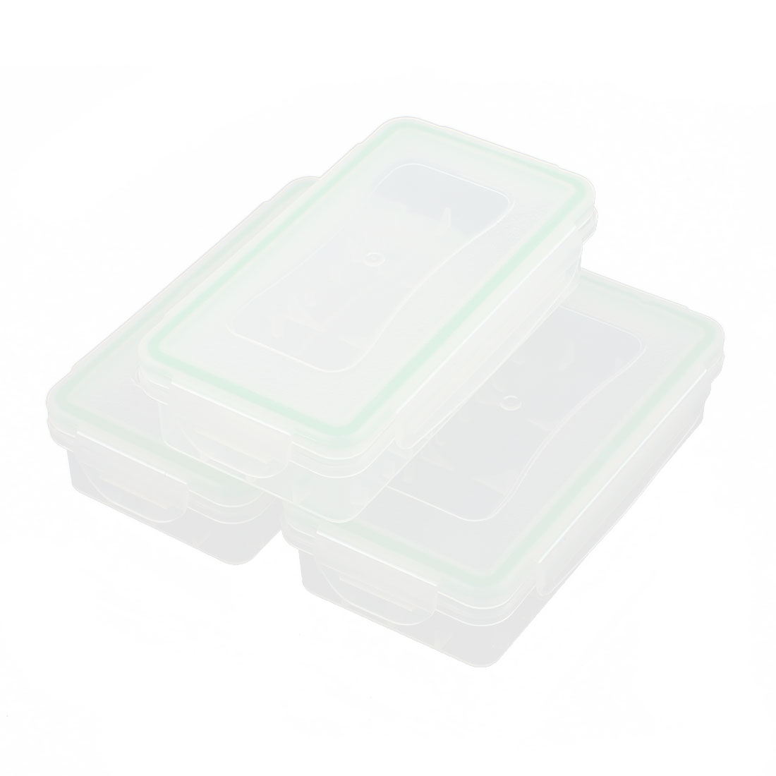 Plastic Rectangle Waterproof Battery Protective Case Storage Box Clear Green 3Pcs