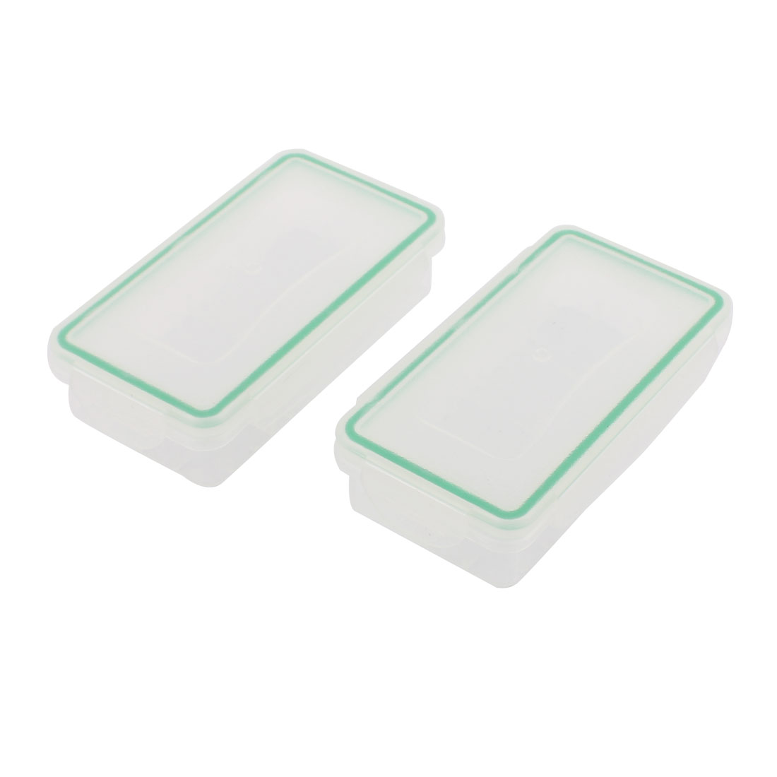 Plastic Rectangle Waterproof Battery Protective Case Storage Box Clear Green 2Pcs