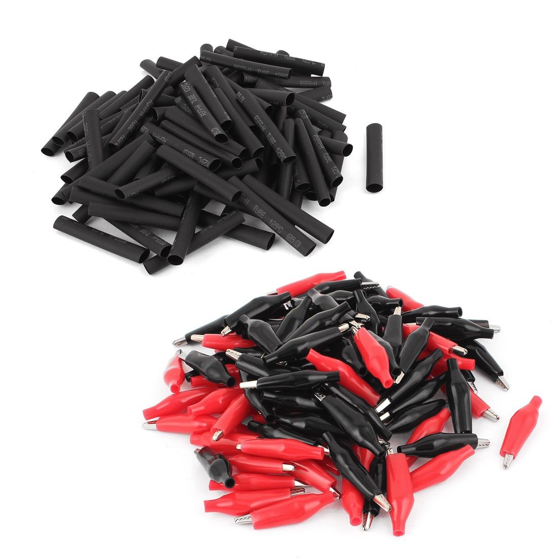 100Pcs Red Black Soft Boot Coated Alligator Test Clip w Heat Shrinkable Tube