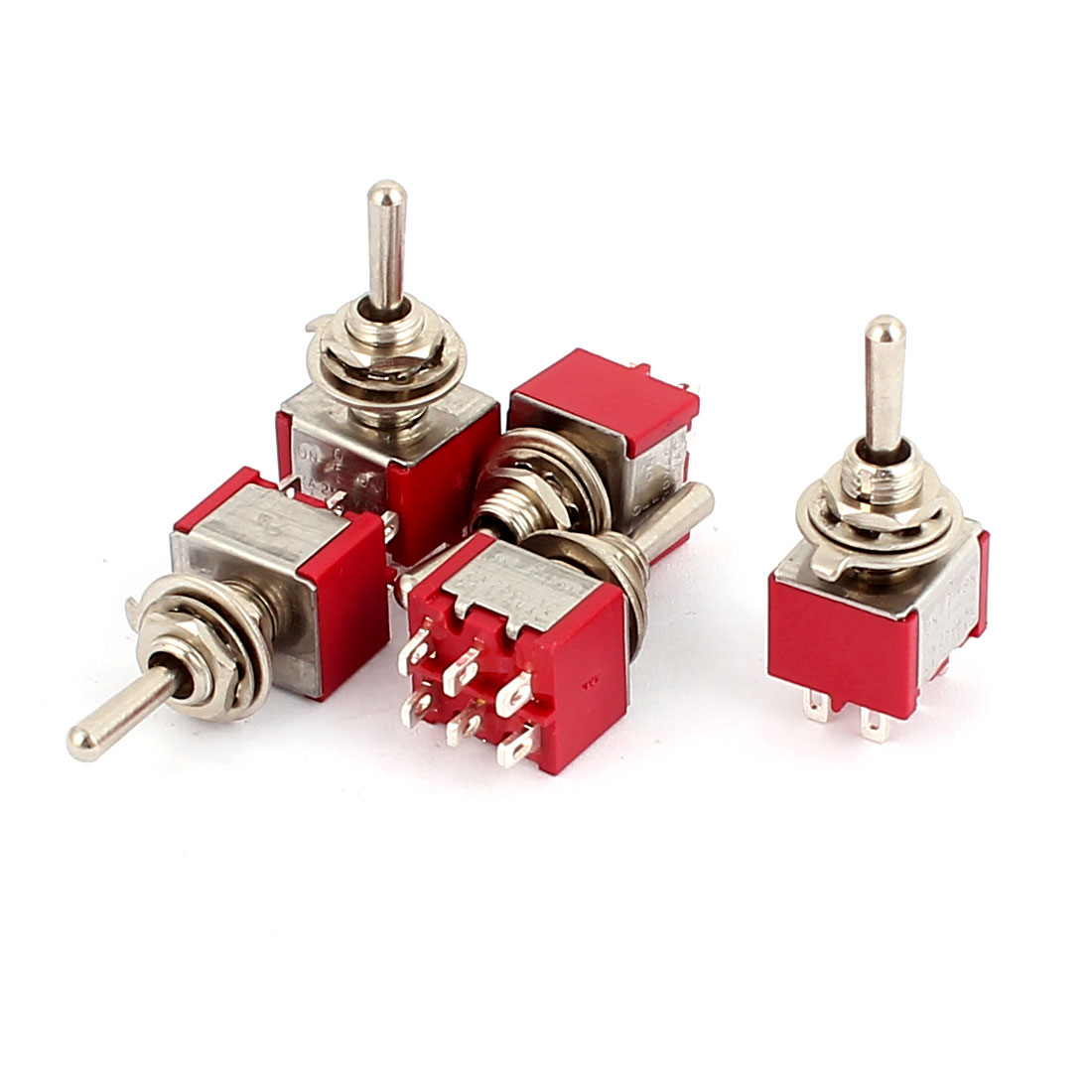 5 Pcs 250VAC 2A 120VAC 5A 6 Terminals DPDT 3 Position ON/OFF/ON Momentary Toggle Switch