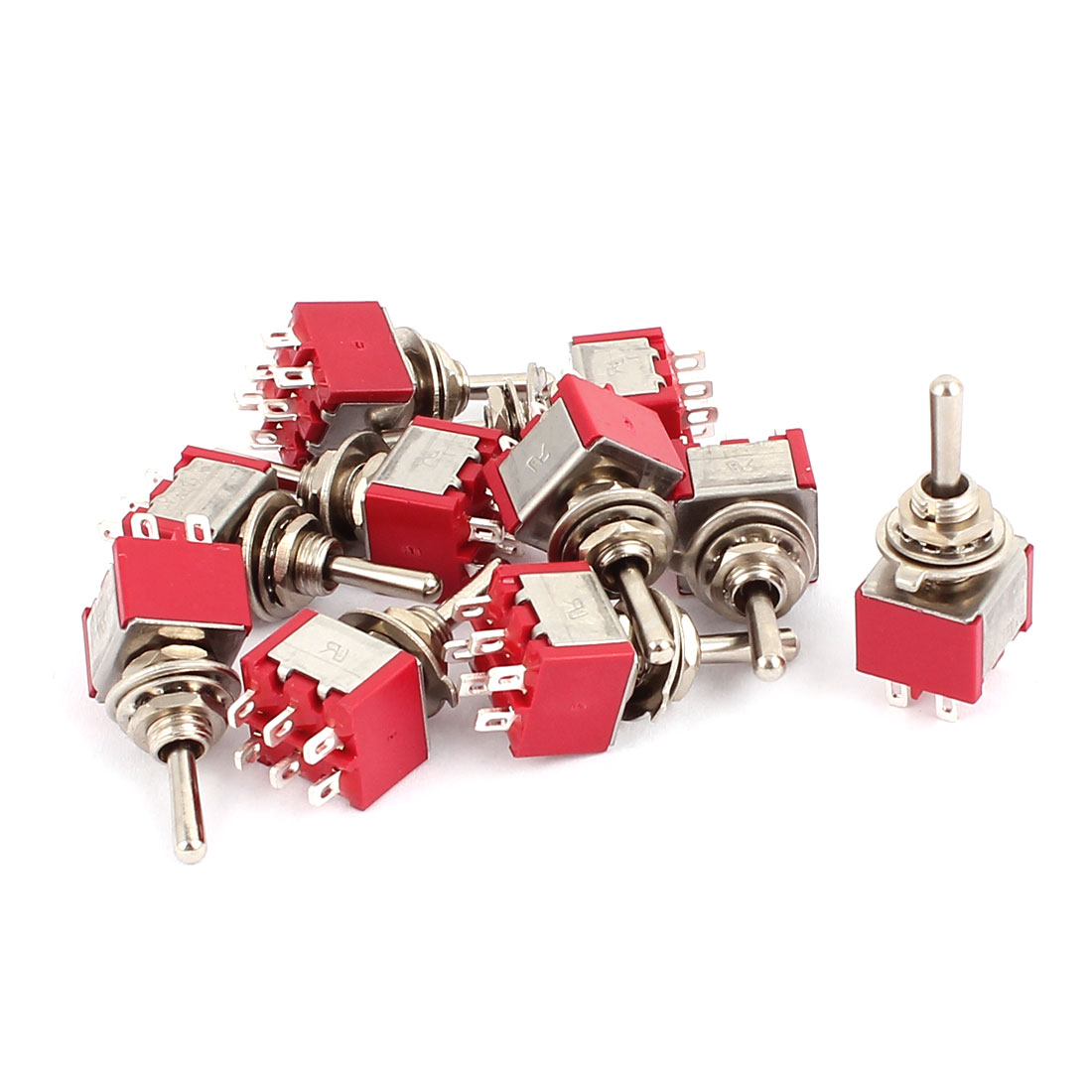 10 Pcs 250VAC 2A 120VAC 5A 6 Terminals DPDT 3 Position ON/OFF/ON Momentary Toggle Switch
