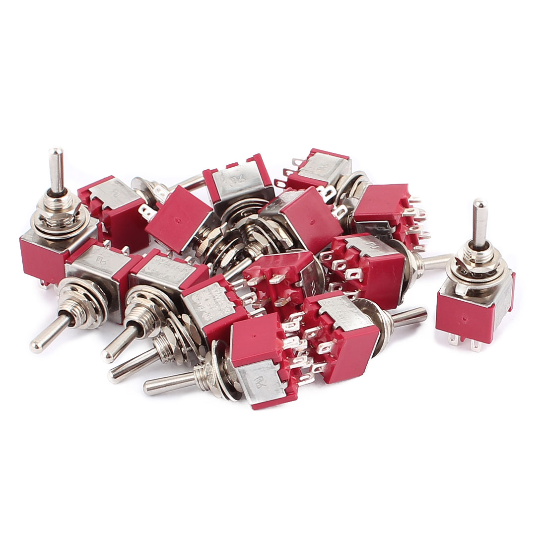 15Pcs 250VAC 2A 120VAC 5A 6 Terminals DPDT 3 Position ON/OFF/ON Momentary Toggle Switch
