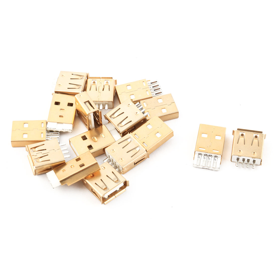 USB 2.0 Type A Solder Female 4 Pins Male Connector Socket Gold Tone 8 Pairs
