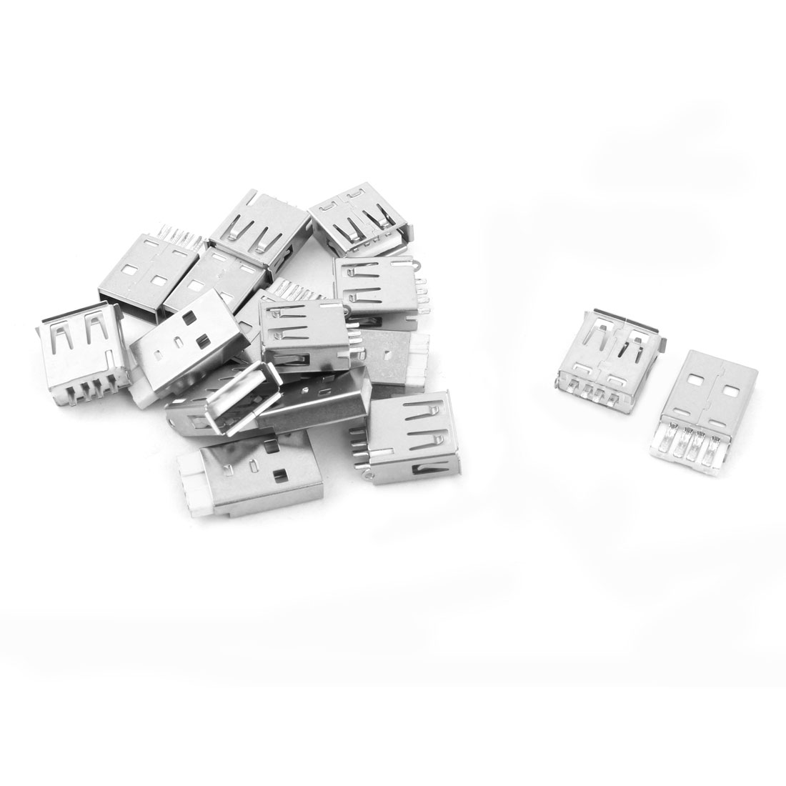 USB 2.0 Type A Solder Female 4 Pins Male Connector Socket Silver Tone 8 Pairs