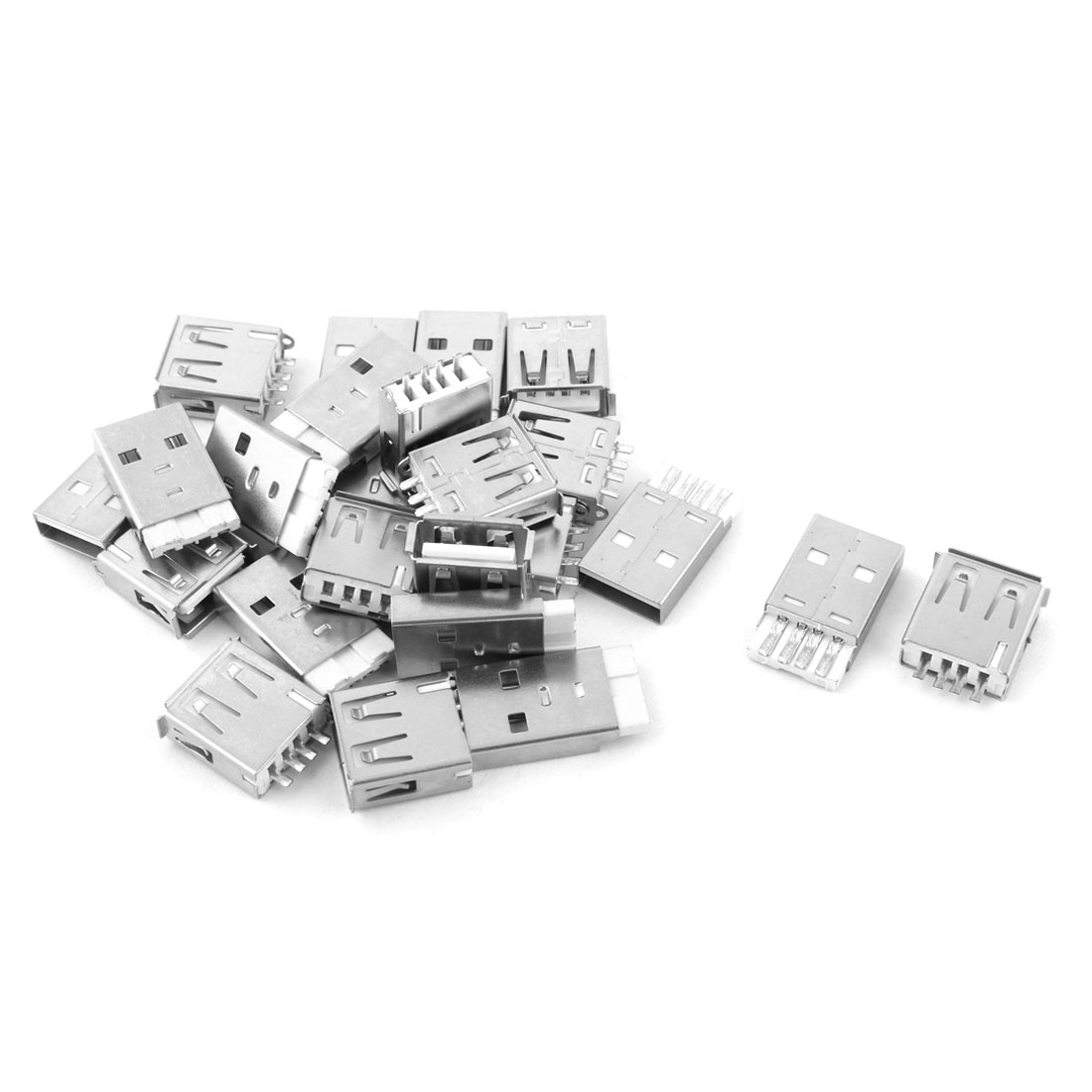 USB 2.0 Type A Solder Female 4 Pins Male Connector Socket Silver Tone 12 Pairs