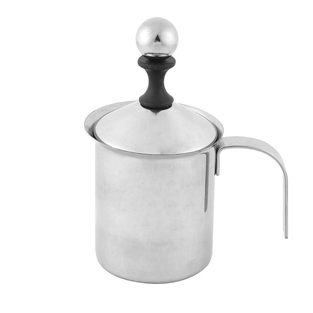 Household Stainless Steel Double Mesh Milk Creamer Silver Tone 400ml Capacity