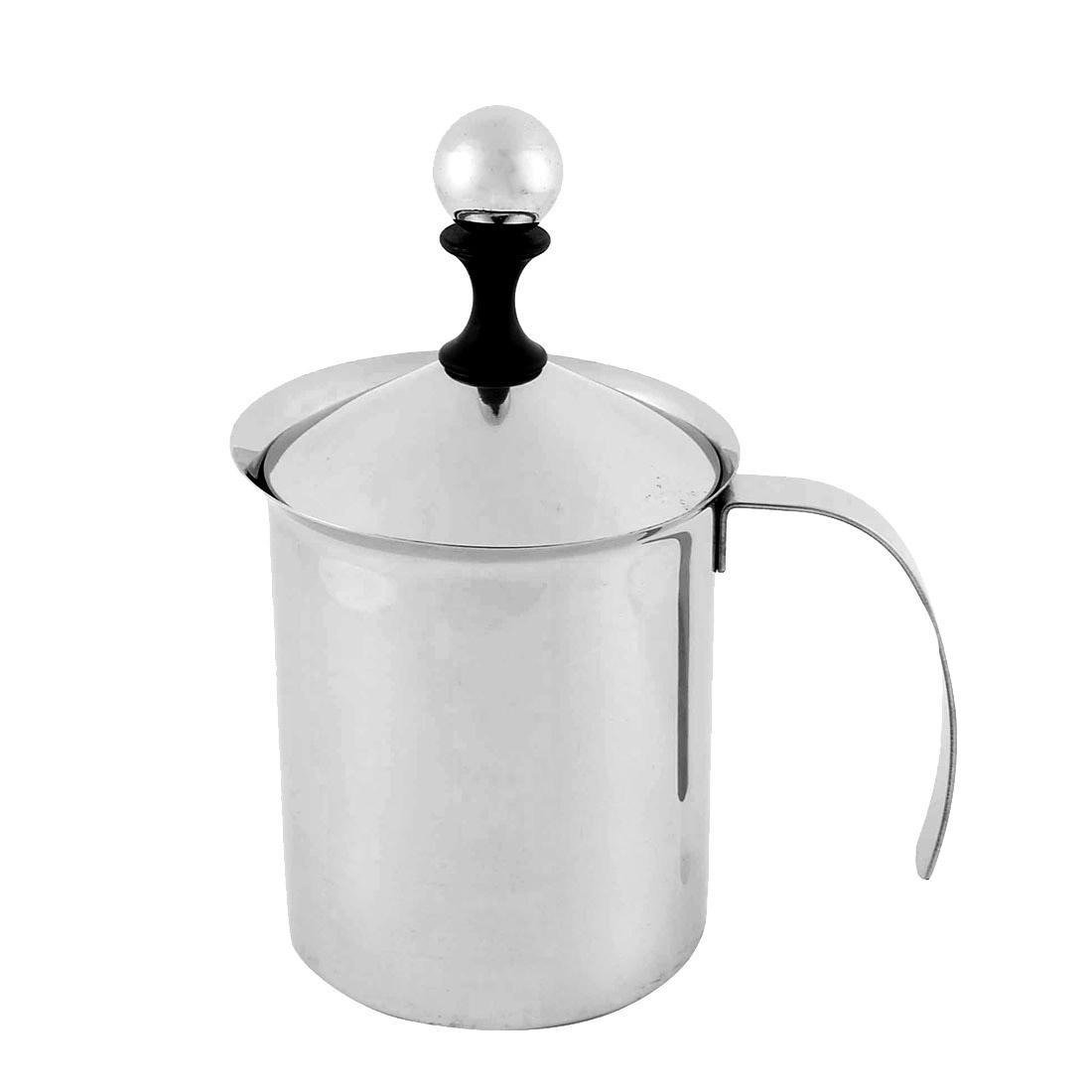 Household Stainless Steel Double Mesh Milk Creamer Silver Tone 800ml Capacity