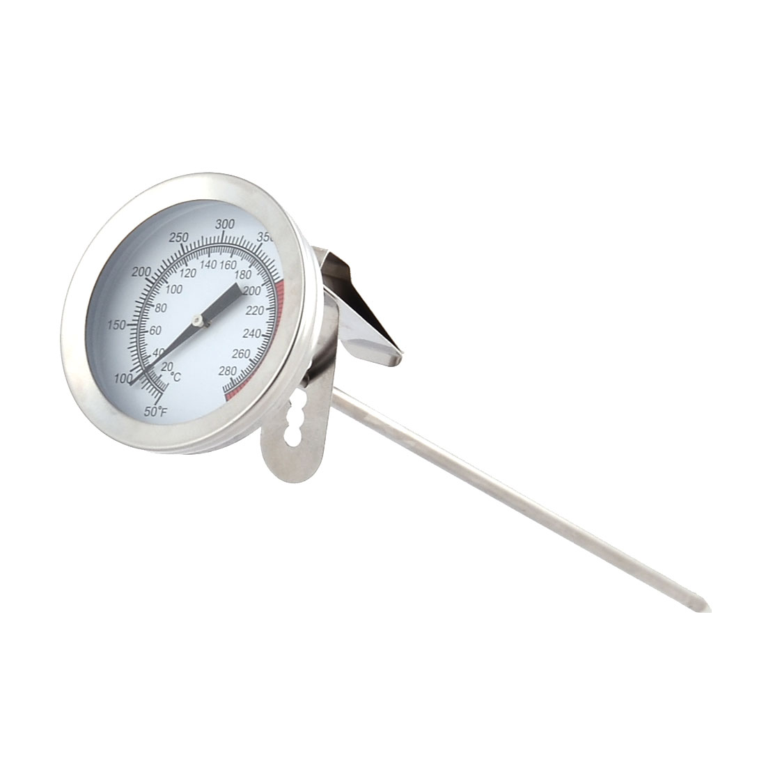 Kitchen Stainless Steel Coffee Tea Milk Frothing Thermometer Silver Tone White