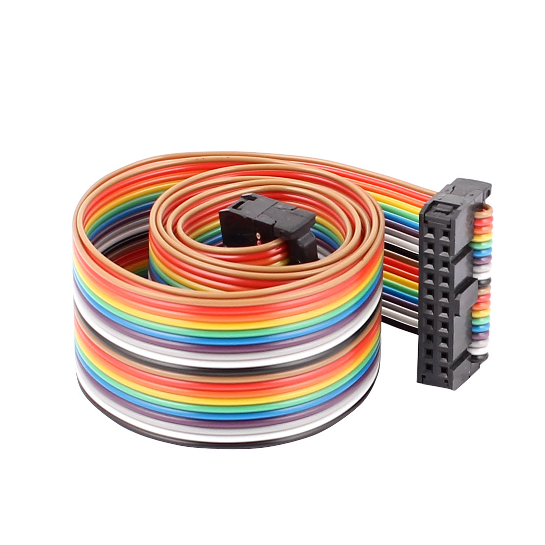 66cm Length 2.54mm Pitch 20P 20 Way F/F Rainbow IDC Flat Ribbon Cable Connector