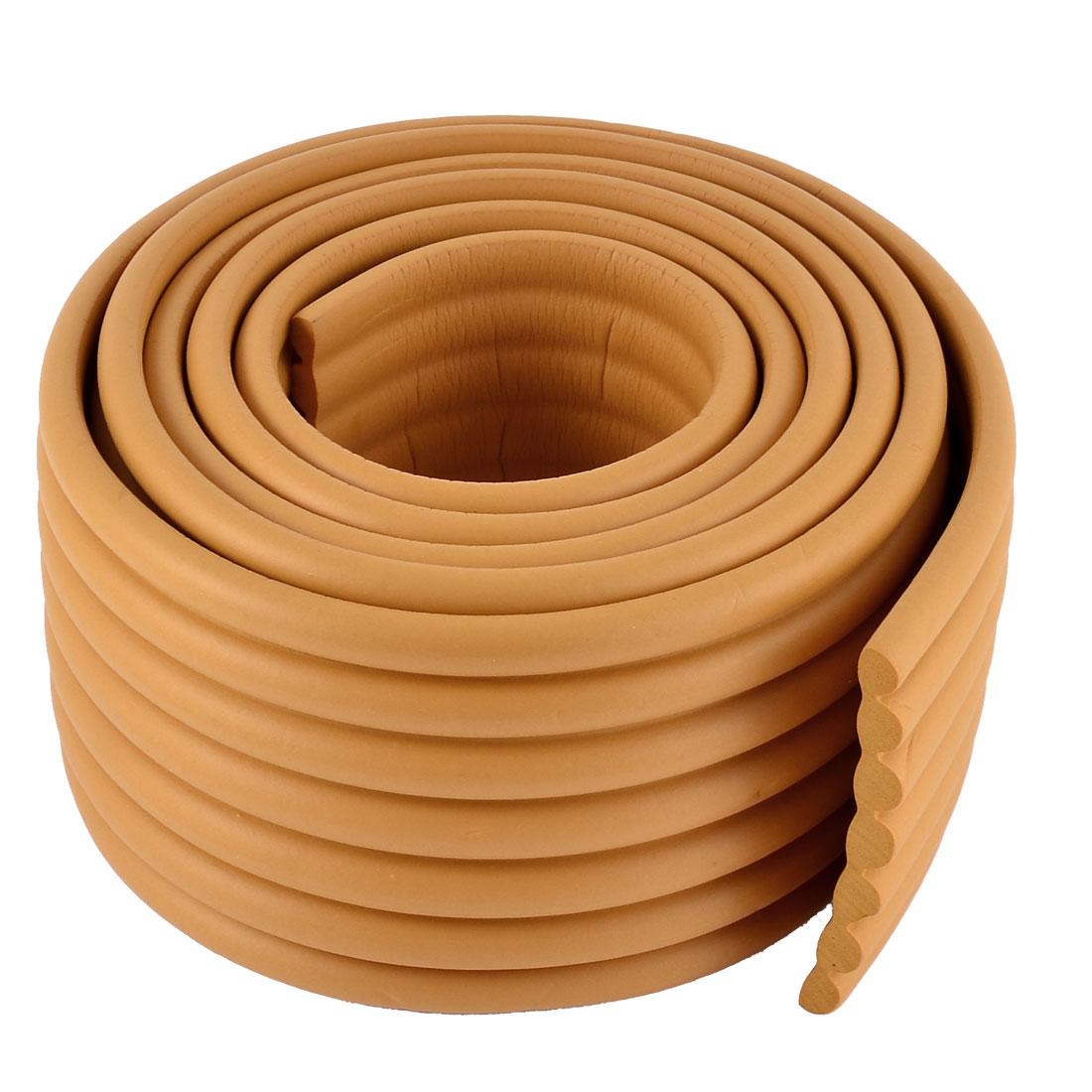 Furniture Corner Edge Protection Cushion Guard Wood Color w Adhesive Tape