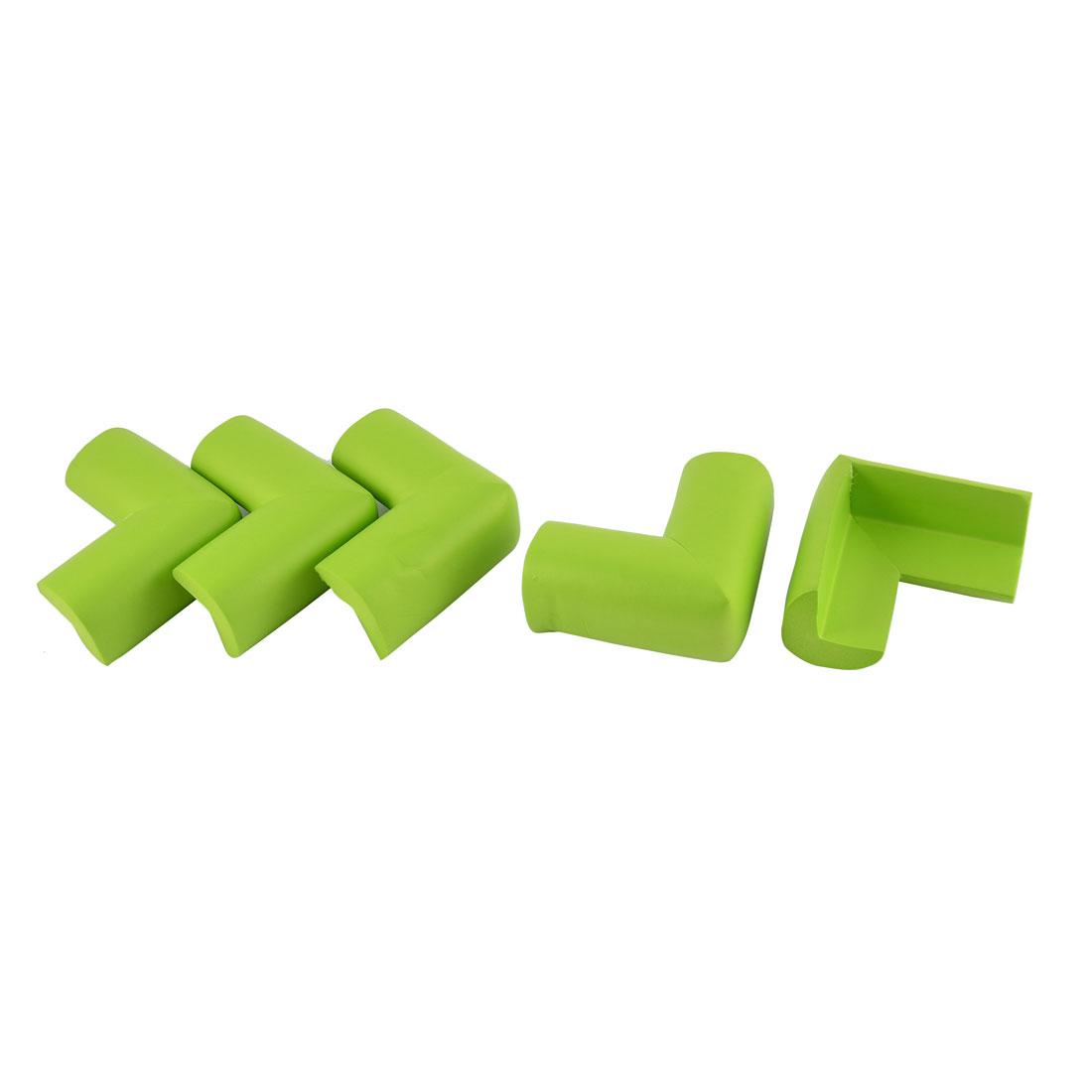 L Shape Cushion Table Corner Edge Guard Protector 70mm x 35mm x 12mm Green 5 Pcs