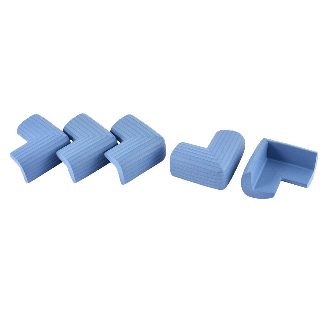 L Shape Strip Design Cushion Furniture Corner Edge Protector Blue 5PCS