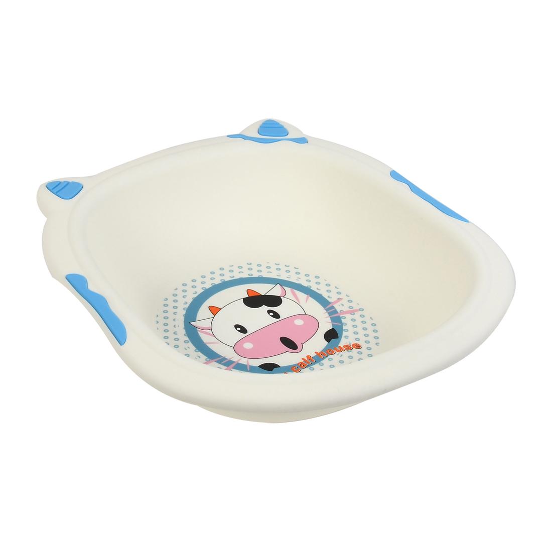 Plastic Cartoon Cow Pattern Washing Basin Cleaning Bowl 36cm x 34cm x 8cm Blue